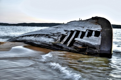 Beached Hull Ship Wreck Grey