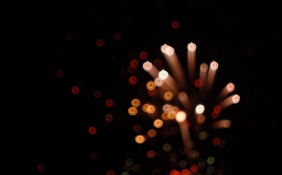 Fireworks at night, Burst, Out of Focus ,Dark