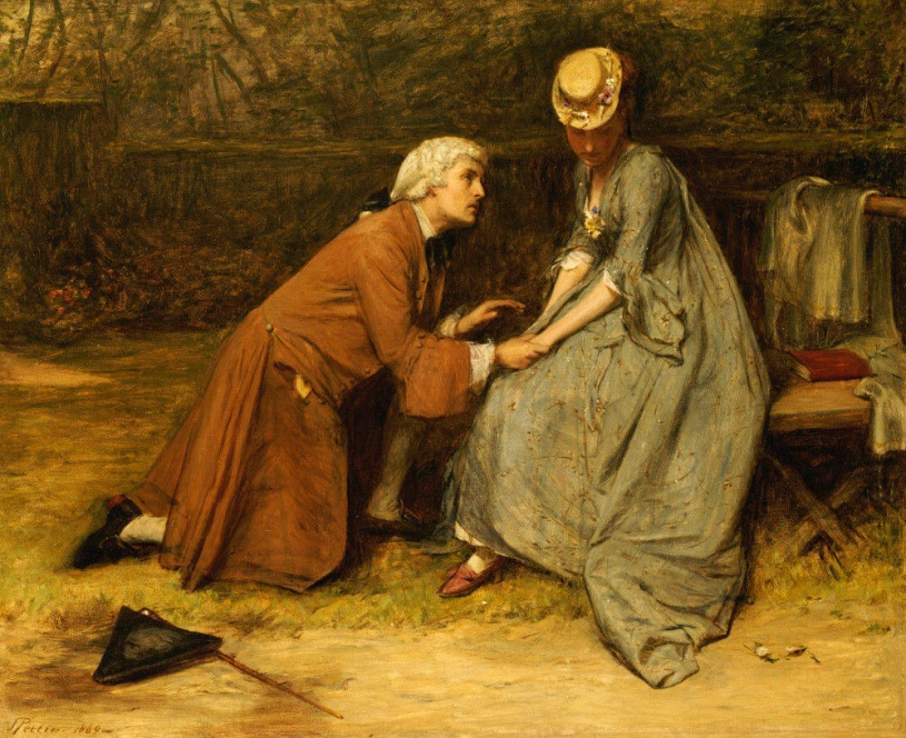 Oil Painting on Canvas, mid-1800's, Pettie, man kneeling, proposing to woman wearing green gown and hat