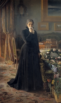 Oil Painting Woman in Mourning, Black Gown, Kramskoy